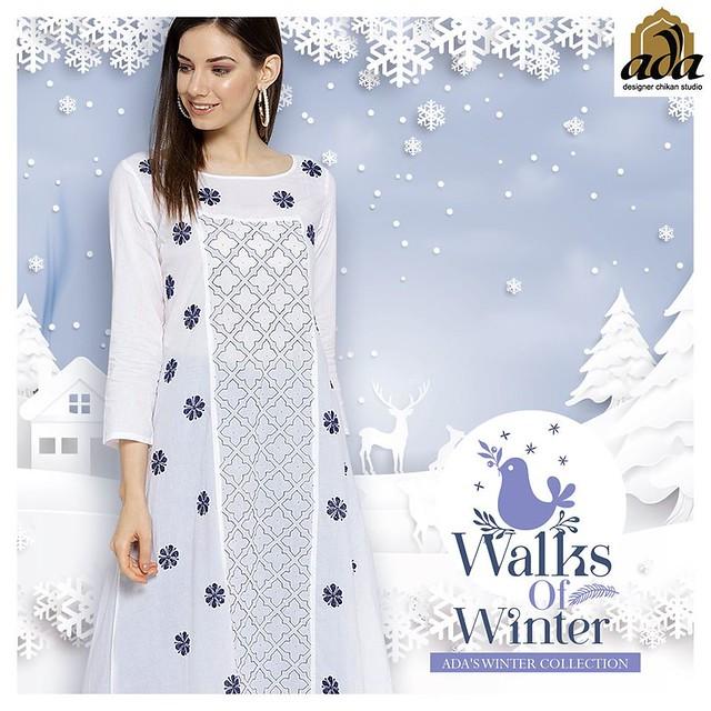 Ada hand embroidered white chikankari cotton kurti