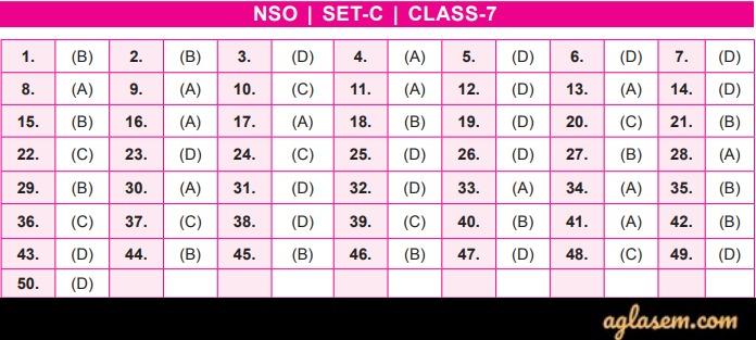 NSO Answer Key 2019-20 Class 7 Set C