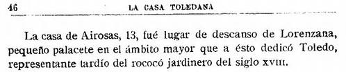 """Cita de Guillermo Téllez relacionando el Hostal del Cardenal con el Cardenal Lorenzana. Artículo """"La Casa Toledana"""" publicado en el boletín nº 62-63 de la RABACHT (enero 1948-diciembre 1949)"""