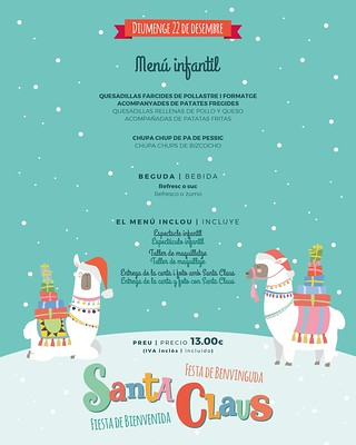 Menú infantil Fiesta Santa Claus Sports Bar