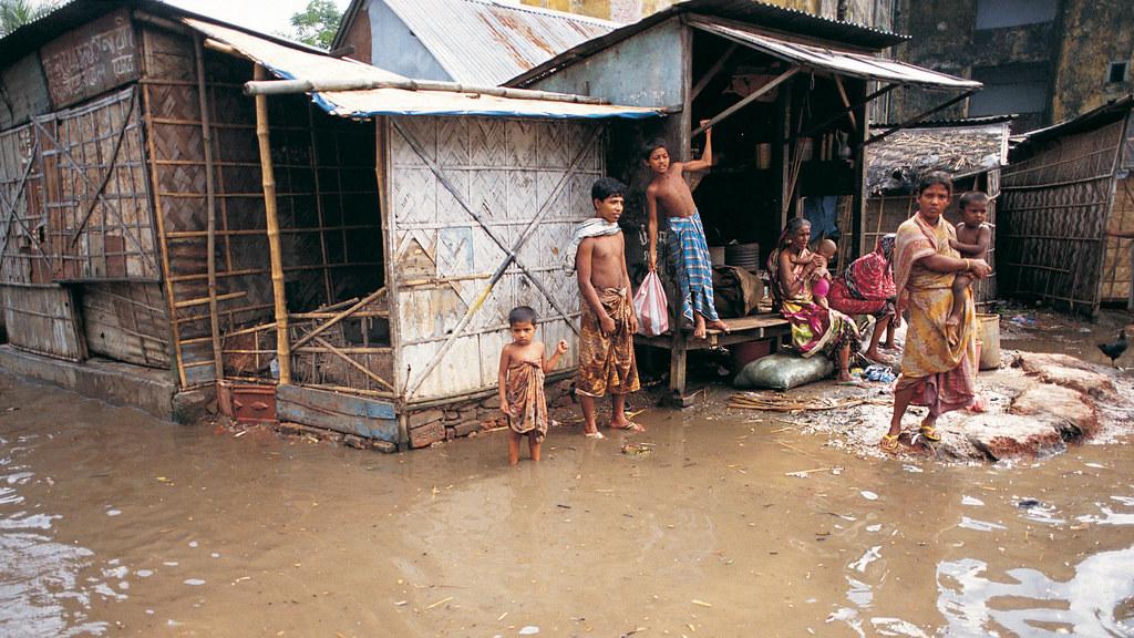 Floodwaters surrounding houses in Dhaka, Bangladesh