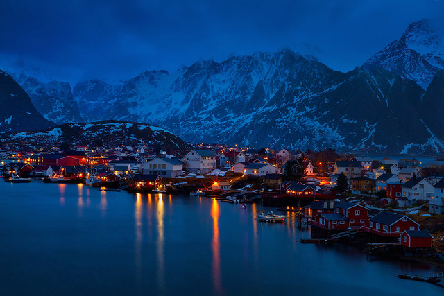 Reine the blue hour