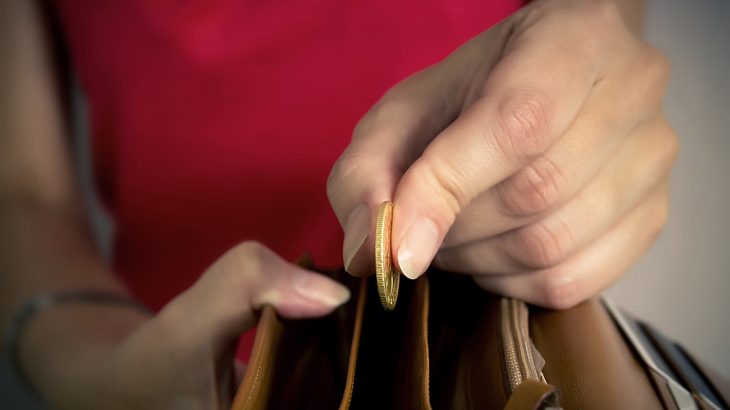 A hand takes a coin from a purse