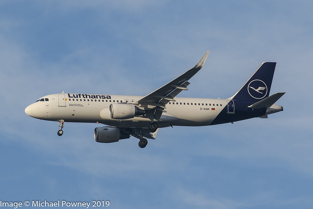 D-AIWK - 2019 build Airbus A320-214, on approach to Runway 23R at Manchester