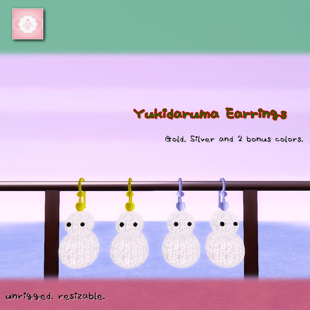 !cream spaghetti hair! Yukidaruma Earrings AD