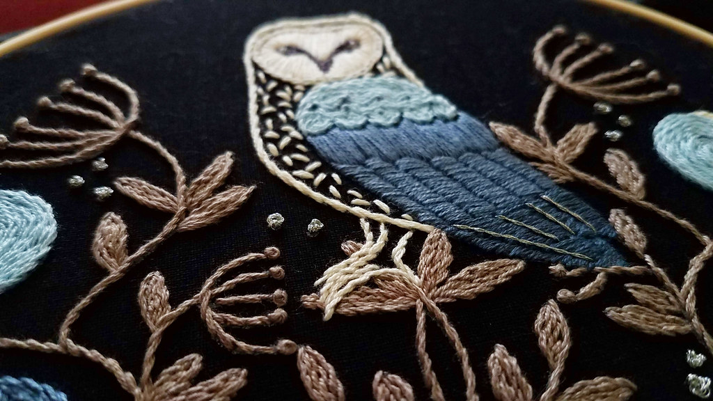 Owl embroidery kit by Jenny Blair