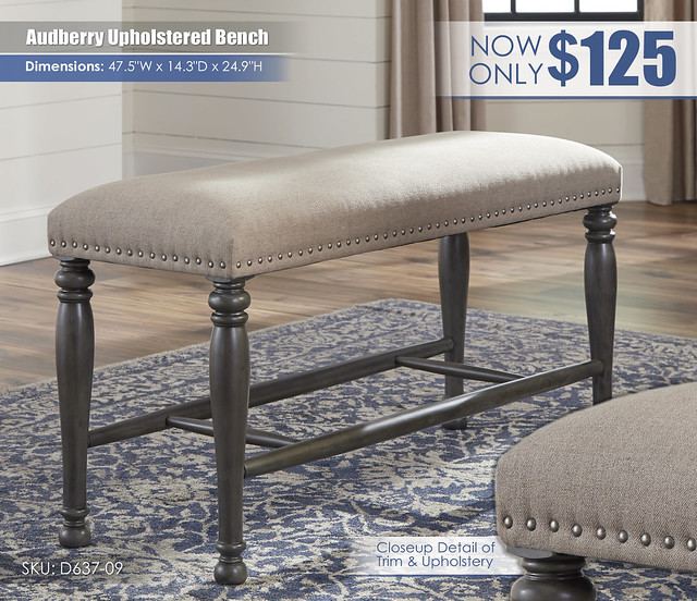 Audberry Upholstered Bench_D637-09