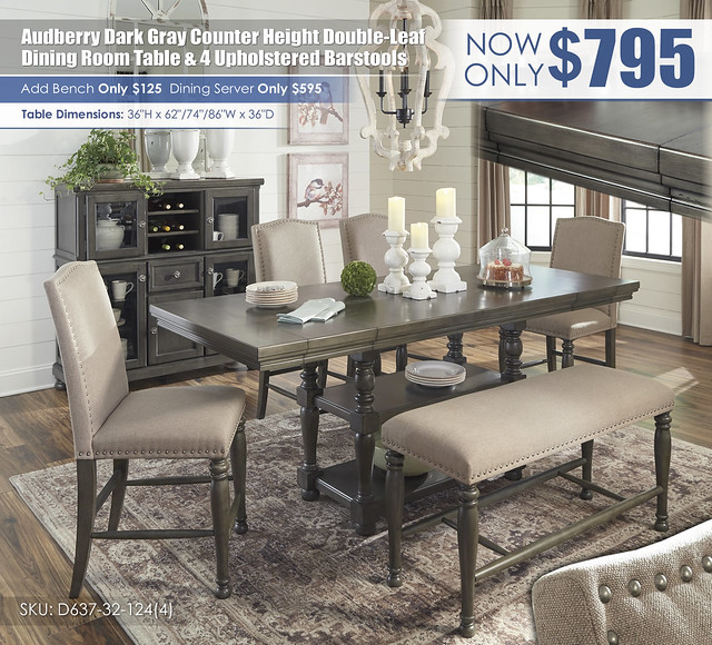 Audberry Dark Gray Counter Height Table & 4 Barstools_D637-MOOD-A