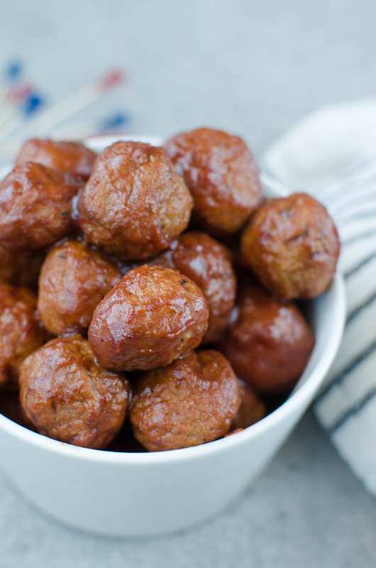 Cranberry Meatballs - like the classic grape jelly meatballs but made with cranberry sauce for the perfect holiday appetizer! Made in the crockpot, only 3 ingredients!