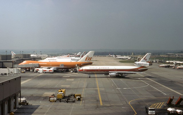Gatwick Panorama with World McDonnell Douglas DC-10 N103WA and Braniff Boeing 747 N601BN in the foreground