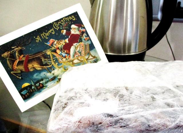 Christmas fruit pudding & Hallmark card