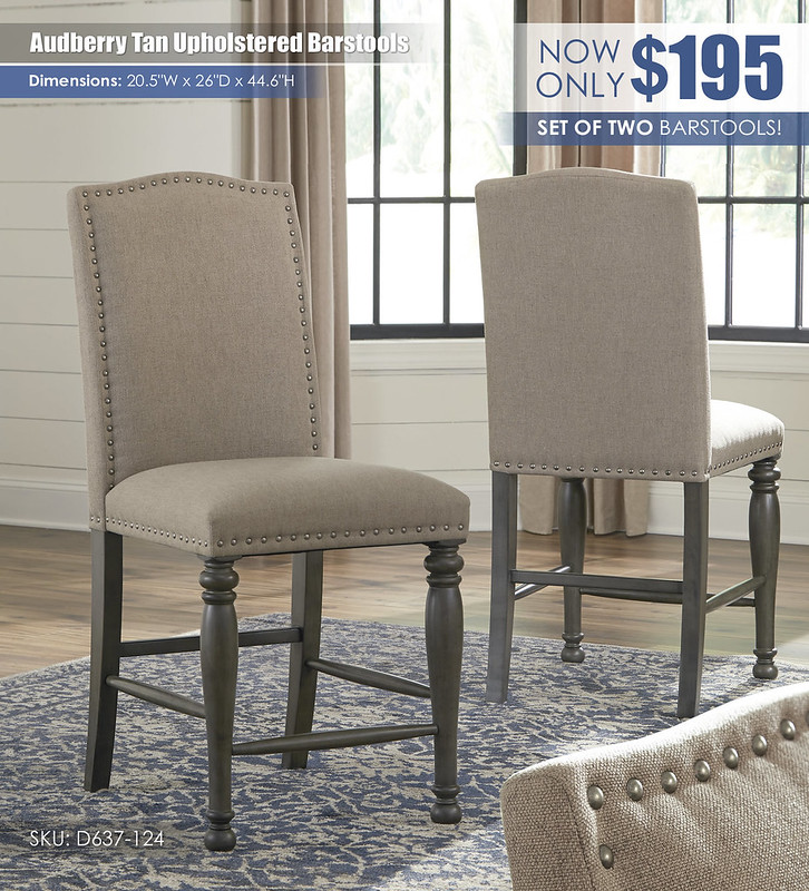 Audberry Tan Upholstered Barstools_D637-124
