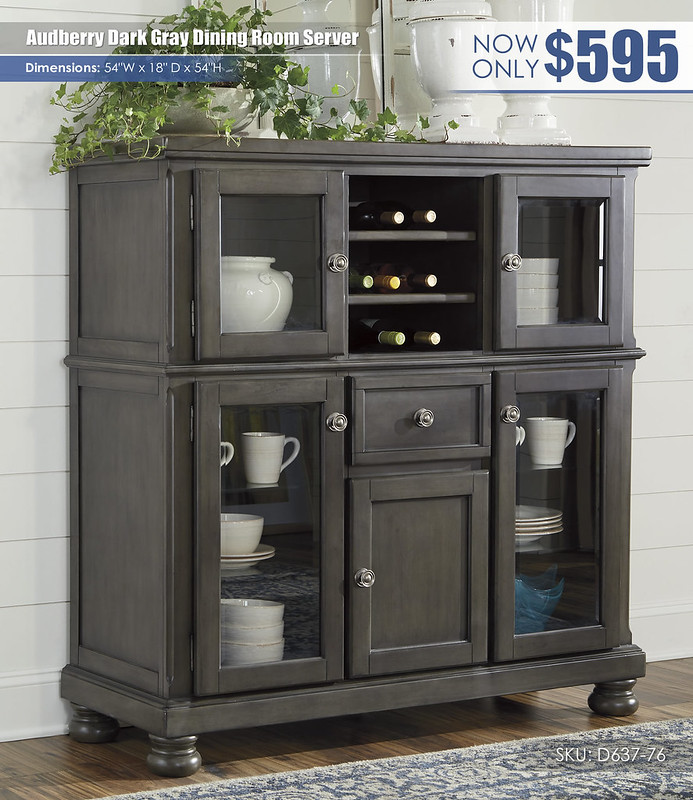 Audberry Dark Gray Dining Server_D637-76