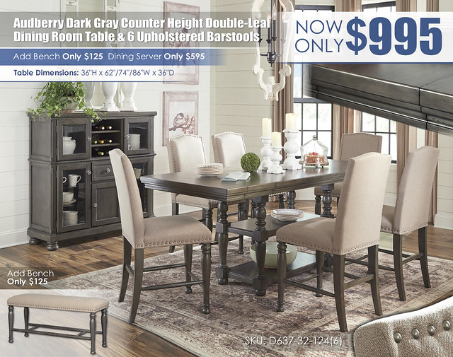 Audberry Dark Gray Counter Height Table & 6 Barstools_D637-32-124(6)-76