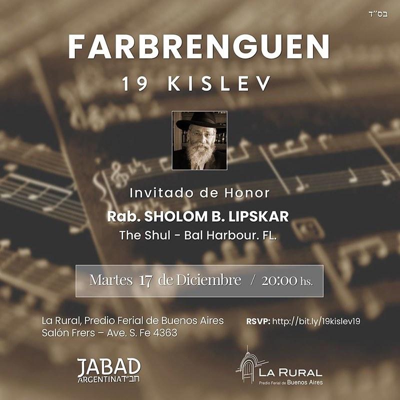 Farbrenguen por el 19 de Kislev 5780 - 2019