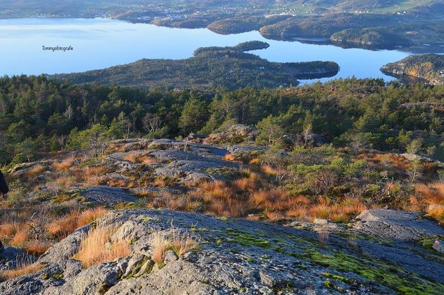 From fjell view back to the Fjord, here a hike near Skjold, Rogaland, Norway