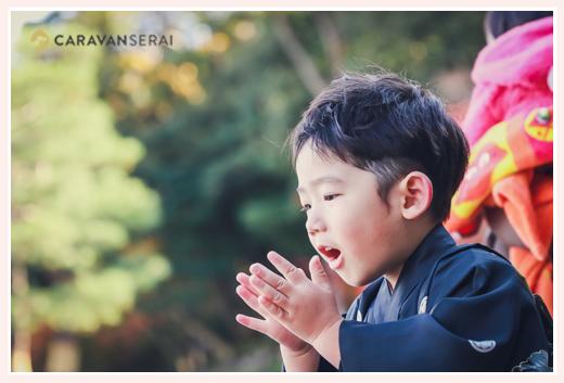 七五三の出張撮影 5歳の男の子 冬の日本庭園