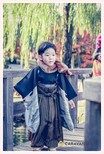 冬(12月・師走)の七五三のロケーション撮影 マフラー 5歳の男の子