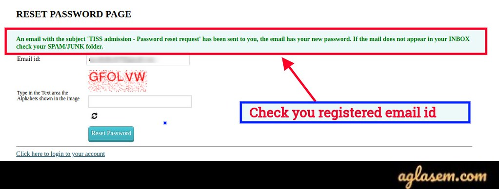 TISSNET login for admit card