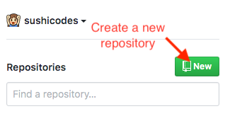 Screenshot of arrow pointing to the green button you click to create a new repository on github