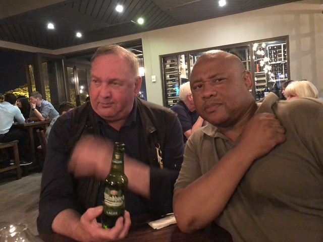 IMG_2055 Butcher Boys Restaurant Lighthouse Mall Lighthouse Road Umhlanga Rocks Durban South Africa with Thulani and MGS with Windhoek Lager Namibian Beer