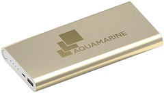 Power bank, flat with a gold metal case.