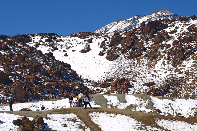 Walking in snow, Teide National Park, Tenerife