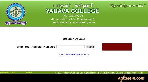 Yadava College Nov 2019 Exam Result
