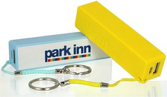 Cheap power banks, yellow and blue with keyrings attached by cord