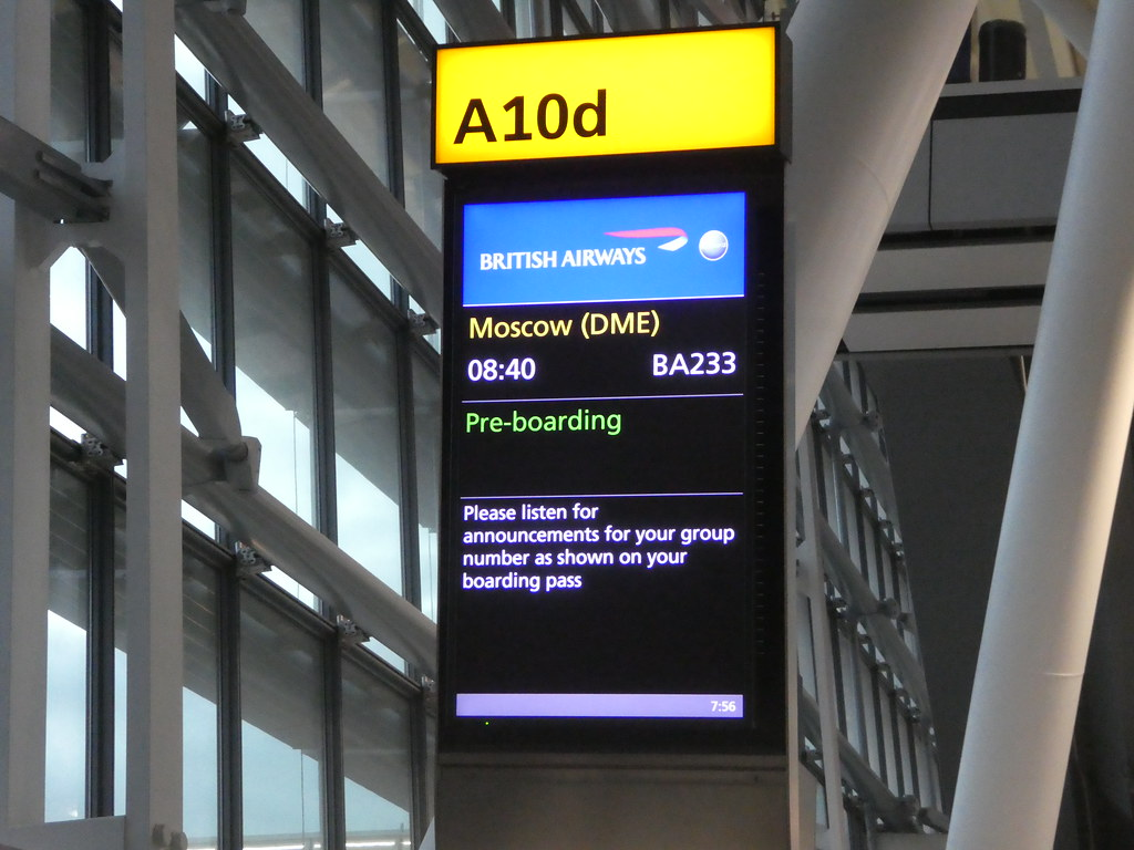Gate for Moscow flight at Heathrow Airport