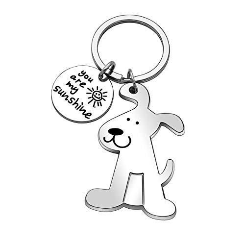 you are my sunshine dog keychain