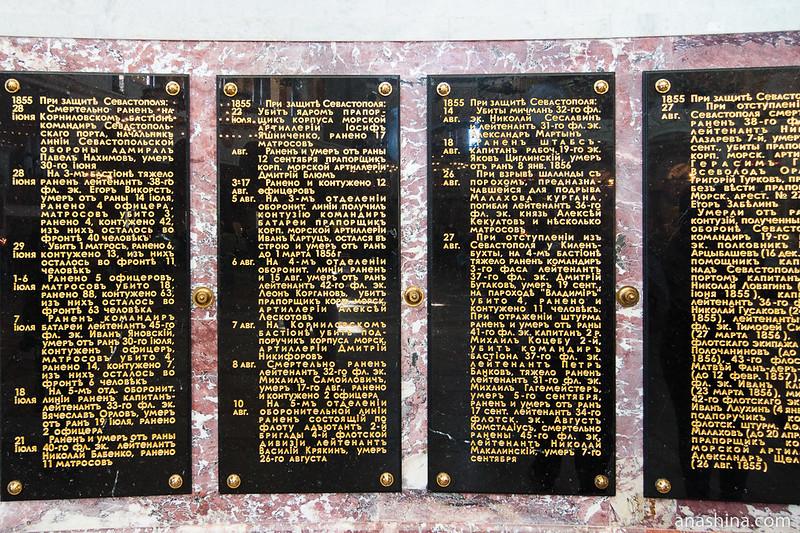 Памятные доски, посвященные Обороне Севастополя 1854-1855 годов, Морской Никольский собор, Кронштадт