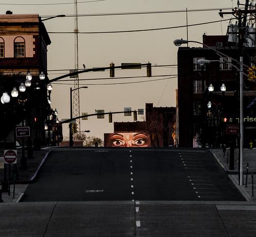 shreveport downtownshreveport eyes looking billboard art artwork street road creepy watching louisiana sunrise
