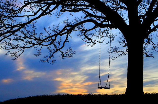 Swing at Sunset, Burrow, South Somerset