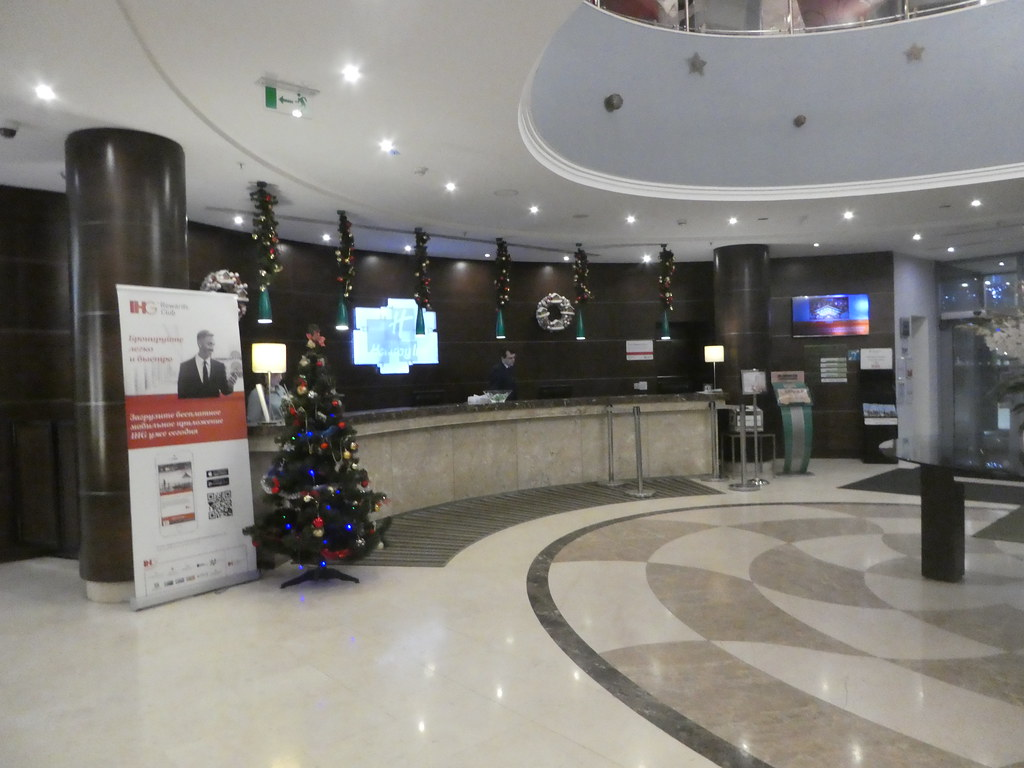 The reception desk at the Holiday Inn, Sokolniki, Moscow