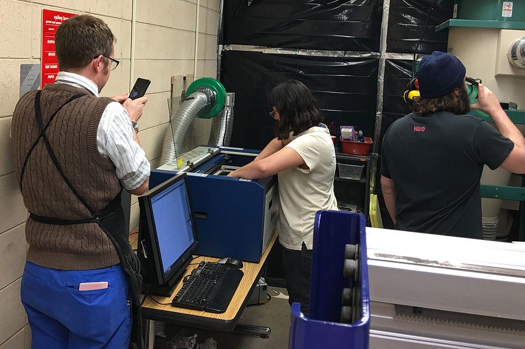loading paper in laser cutter