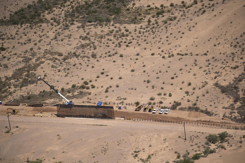 overhead drone shot of border wall construction at Organ Pipe