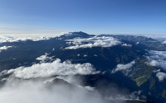 El Altar Volcano from the Summit of the Active and Mighty Stratovolcano 'Tungurahua' ('Throat of Fire' volcano) at 5,023 meters (16,479 feet) above sea level, Baños, the Central Highlands, Ecuador.