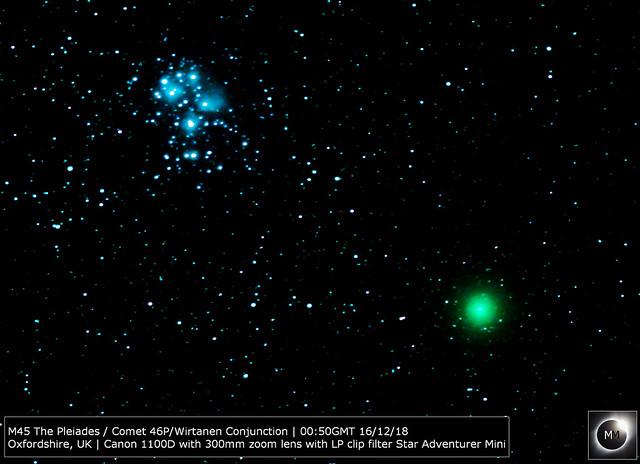 M45 & Comet 46P/Wirtanen 16/12/18  (Reprocess)