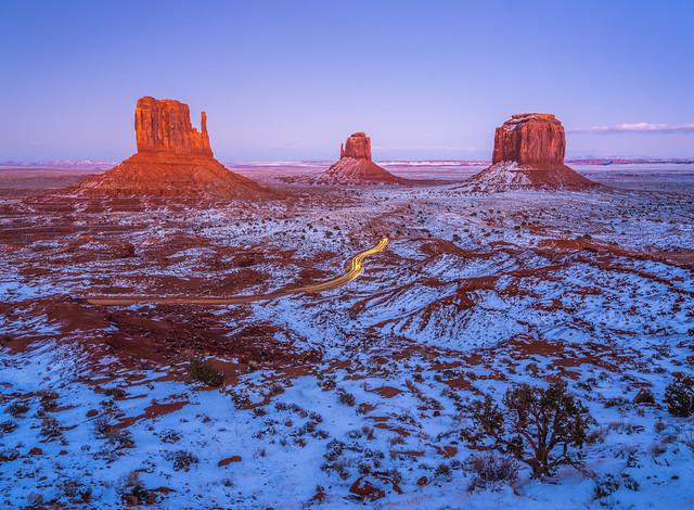 Monument Valley Winter Snow Dusk Fuji GFX100 Fine Art Landscape Nature Photography! Elliot McGucken Medium Format Fuji GFX 100 dx4/dt=ic Fujifilm Fujinon Gf 23mm F/4 R Lm Wr Lens for GFX Medium Format! Wide Angle!