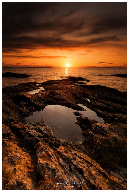 Sunset at Dunskeig Bay, Clachan, Kintyre, Argyll, Scotland.