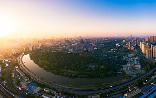 nanjing jiangsu peoplesrepublicofchina drone aerial river mountain pavilion sky skyline horizon city cityscape sunrise