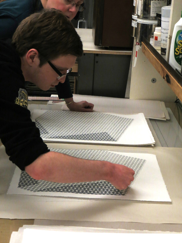 inspecting the print