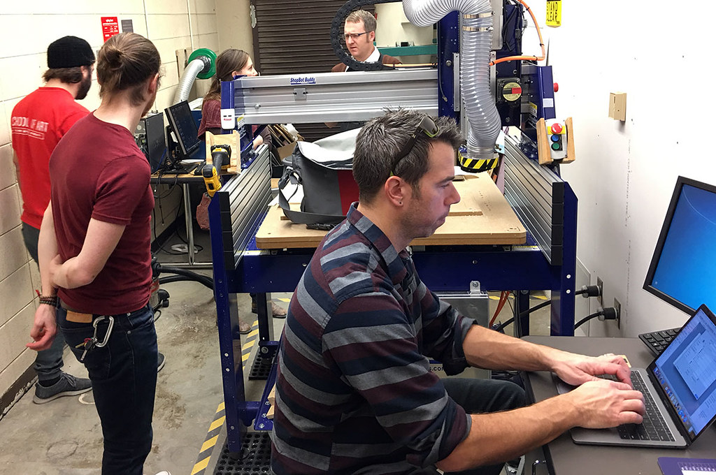 working in the digital fabrication lab
