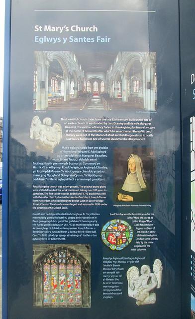 St Mary's church info, Mold, Wales