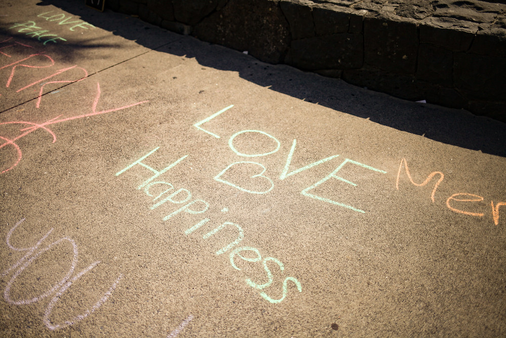 Love Happiness Message on the ground
