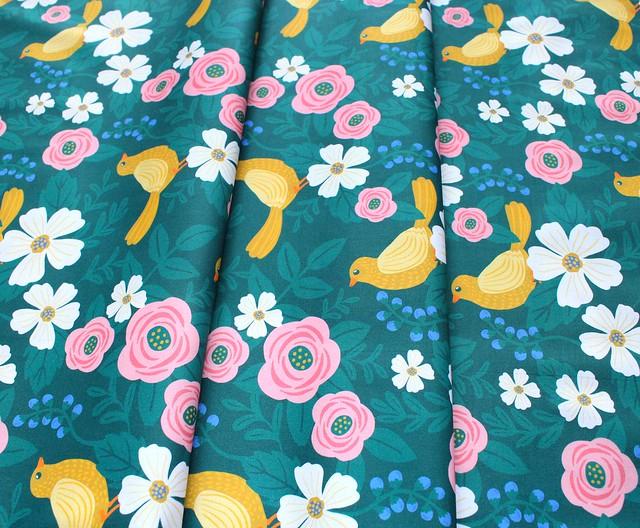 Paintbrush Studio Fabrics Picnic 120-21183 Bird Flower Green