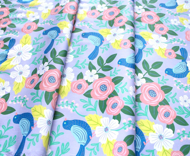 Paintbrush Studio Fabrics Picnic 120-21181 Bird Flower Lavender