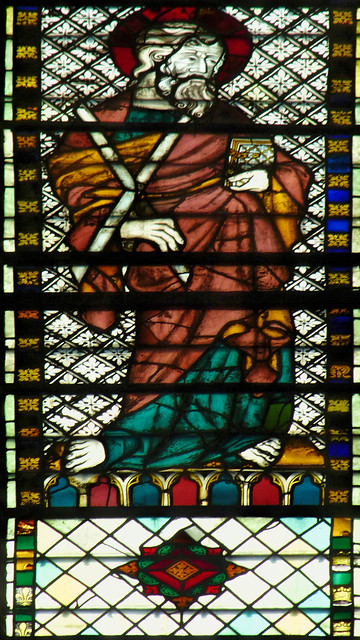 Sat, 08/16/2014 - 09:08 - 1325-39 stained glass depicting St Andrew - St Ouen, Rouen France 16/08/2014