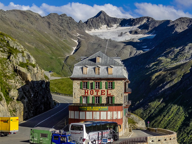 The Hotel-Restaurant Belvédère in Rhone Glacier. Located 2,316 meters high up on the peak of Furka Pass road in Canton Valais in Switzerland.